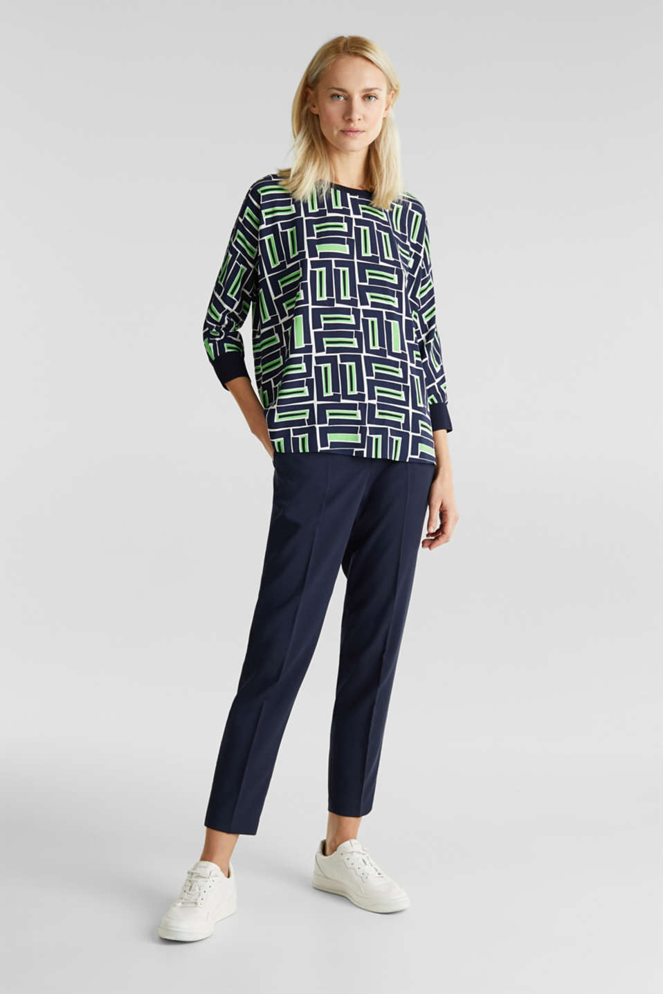 Print blouse with LENZING™ ECOVERO™, NAVY 3, detail image number 6