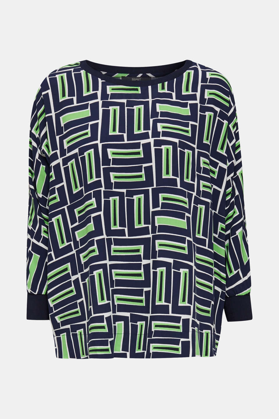 Print blouse with LENZING™ ECOVERO™, NAVY 3, detail image number 7