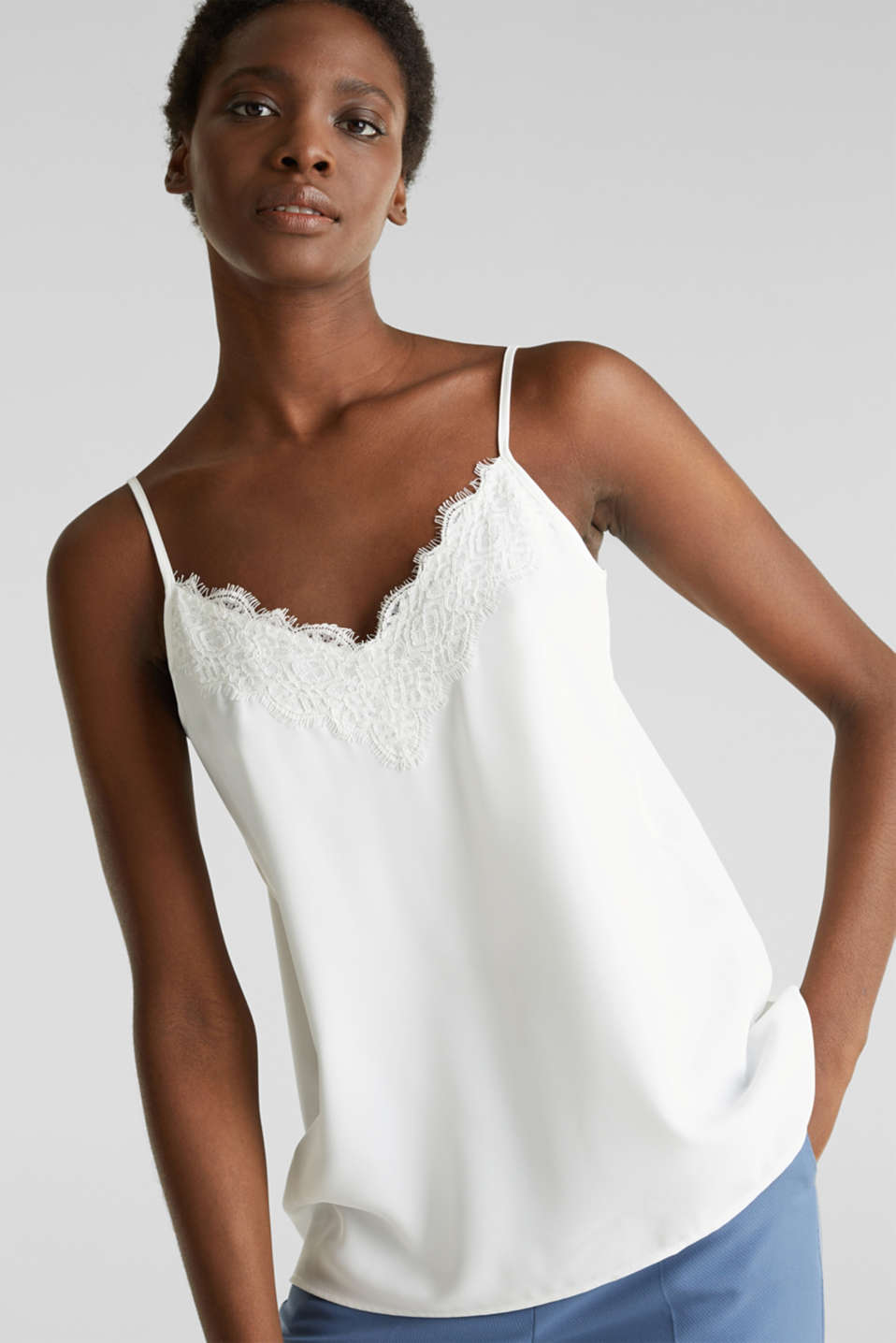Esprit - Spaghetti strap top with lace