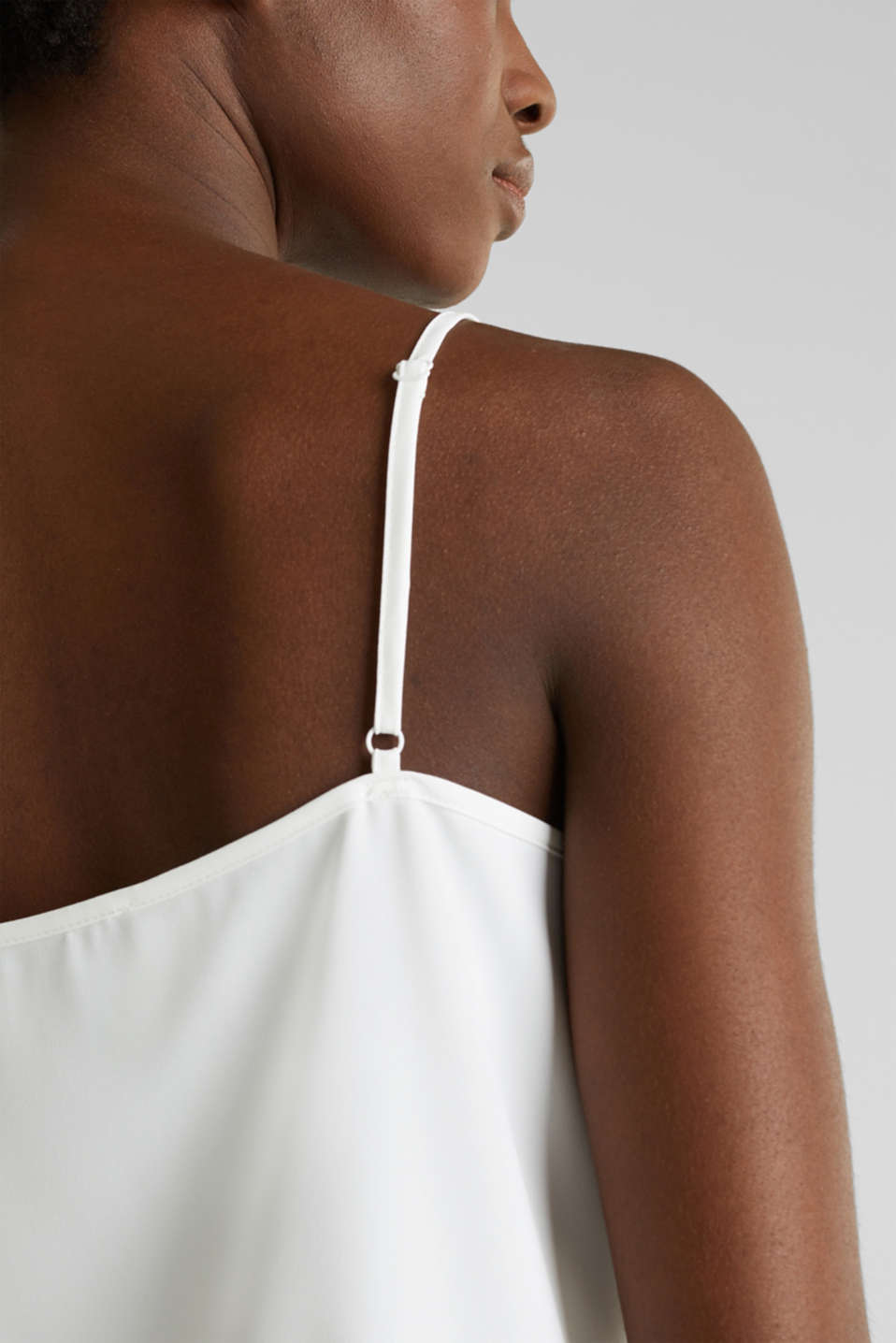 Spaghetti strap top with lace, OFF WHITE, detail image number 4