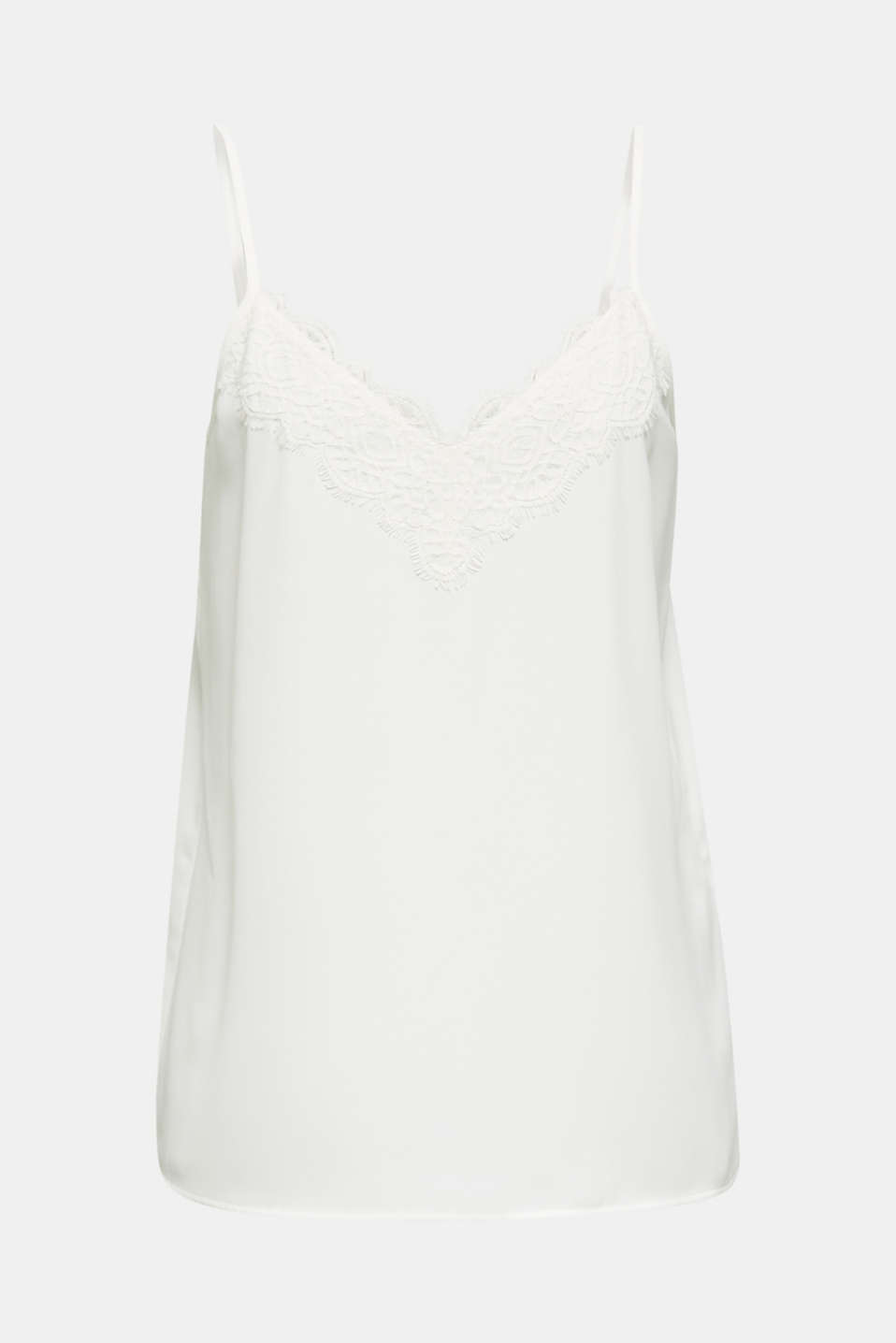 Spaghetti strap top with lace, OFF WHITE, detail image number 6