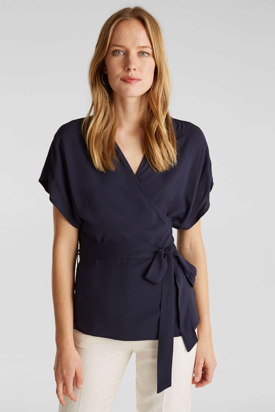 Wrap blouse with a shirt collar, NAVY, detail image number 0