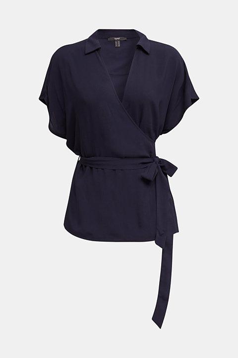 Wrap blouse with a shirt collar