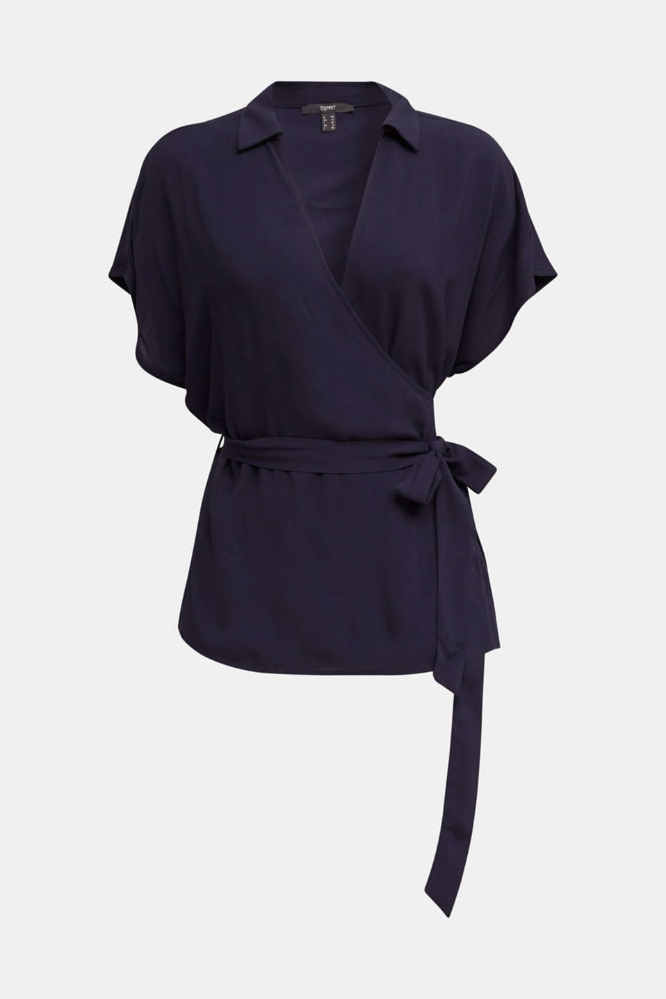 Wrap blouse with a shirt collar, NAVY, detail image number 6