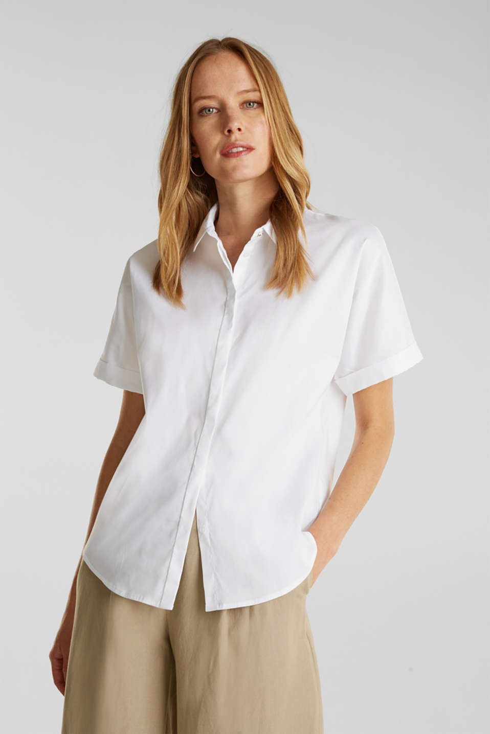 Shiny oversized blouse, WHITE, detail image number 0