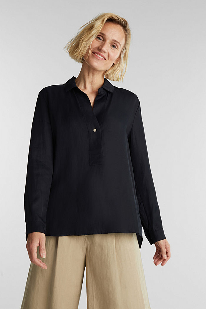 Blended linen: Slip-on blouse with button, BLACK, detail image number 0