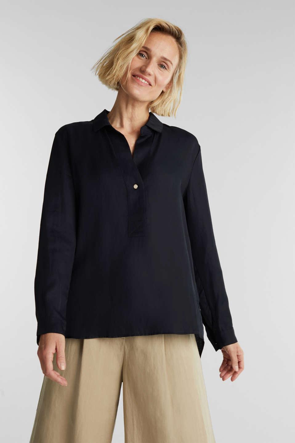 Blended linen: Slip-on blouse with button, BLACK, detail image number 0