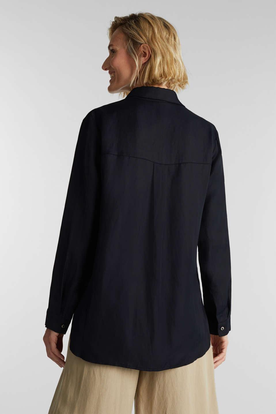 Blended linen: Slip-on blouse with button, BLACK, detail image number 3