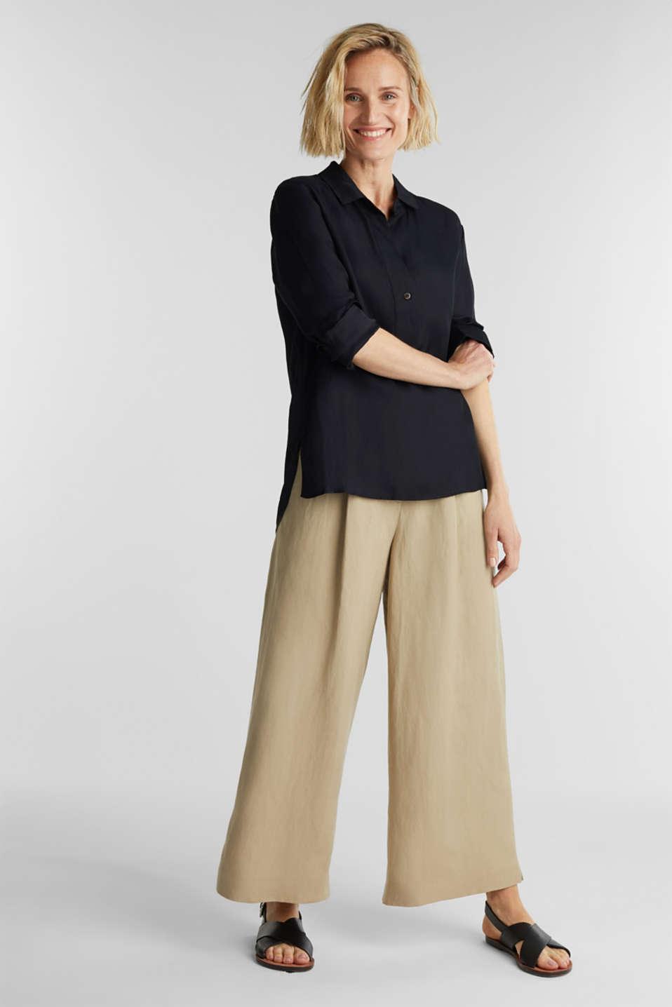 Blended linen: Slip-on blouse with button, BLACK, detail image number 6