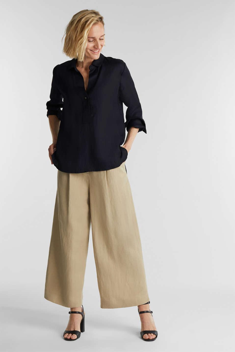 Blended linen: Slip-on blouse with button, BLACK, detail image number 1