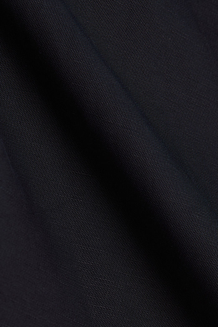 Blended linen: Slip-on blouse with button, BLACK, detail image number 4