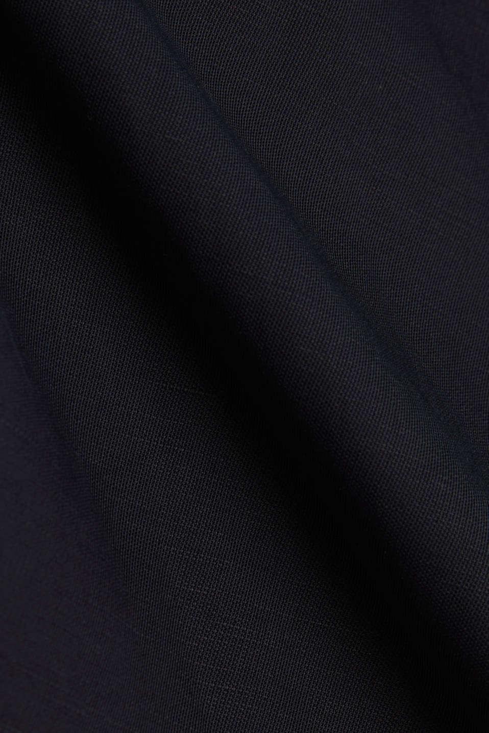 Blended linen: Slip-on blouse with button, BLACK, detail image number 4