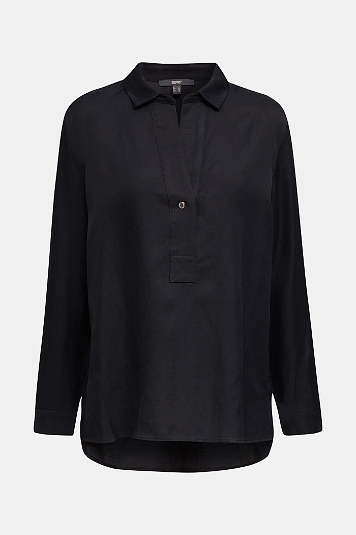 Blended linen: Slip-on blouse with button, BLACK, detail image number 7