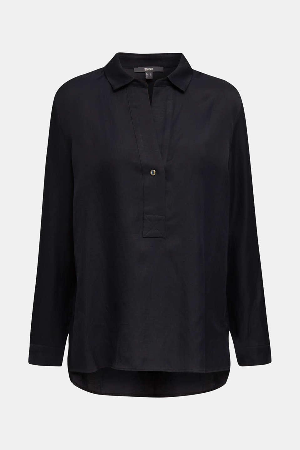 Blended linen: Slip-on blouse with button, BLACK, detail image number 8