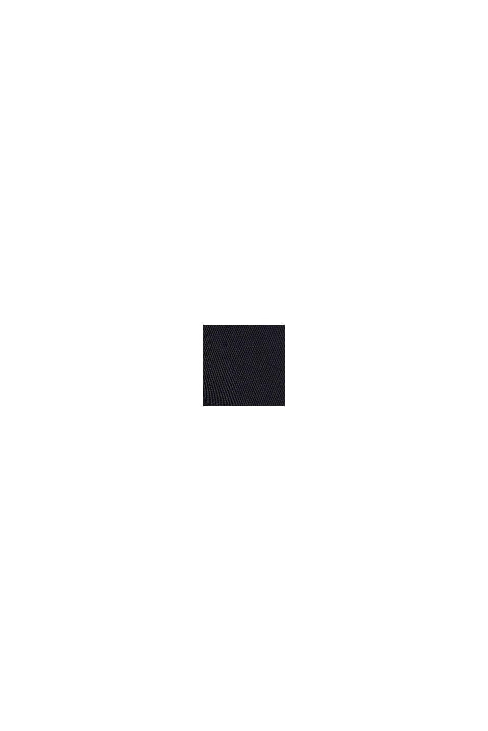 Con lino: blusa cerrada con botón, BLACK, swatch