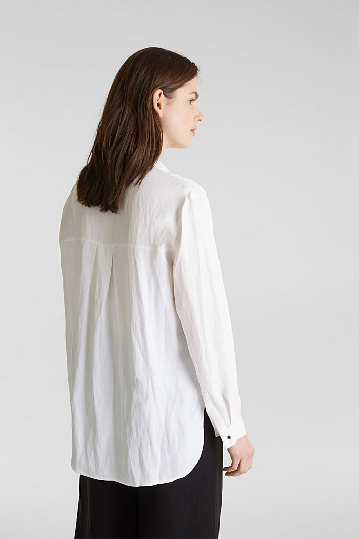 Blended linen: Slip-on blouse with button, WHITE, detail image number 3