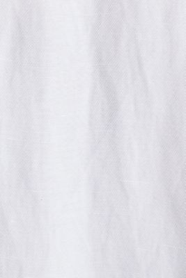 Blended linen: Slip-on blouse with button, WHITE, detail