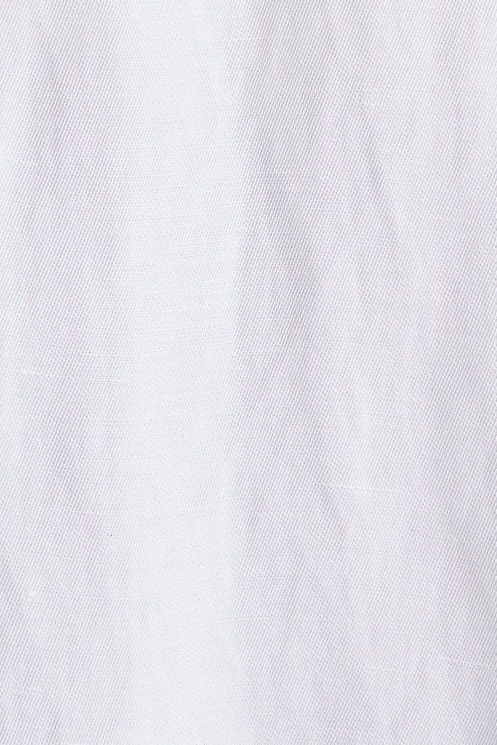 Blended linen: Slip-on blouse with button, WHITE, detail image number 4