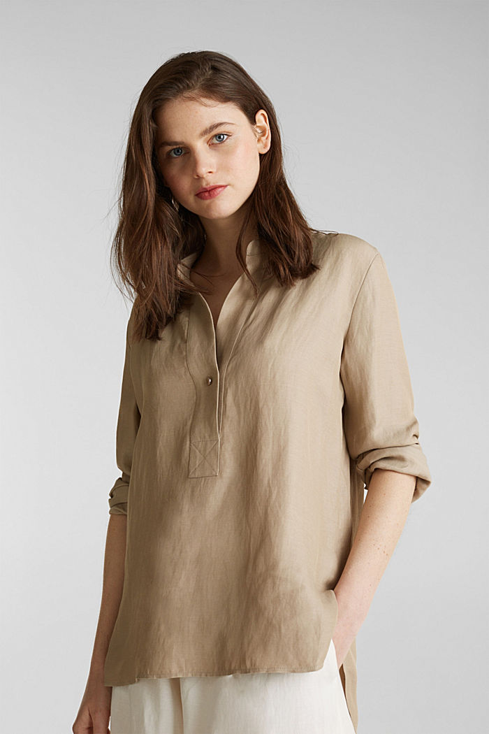Blended linen: Slip-on blouse with button, BEIGE, detail image number 0
