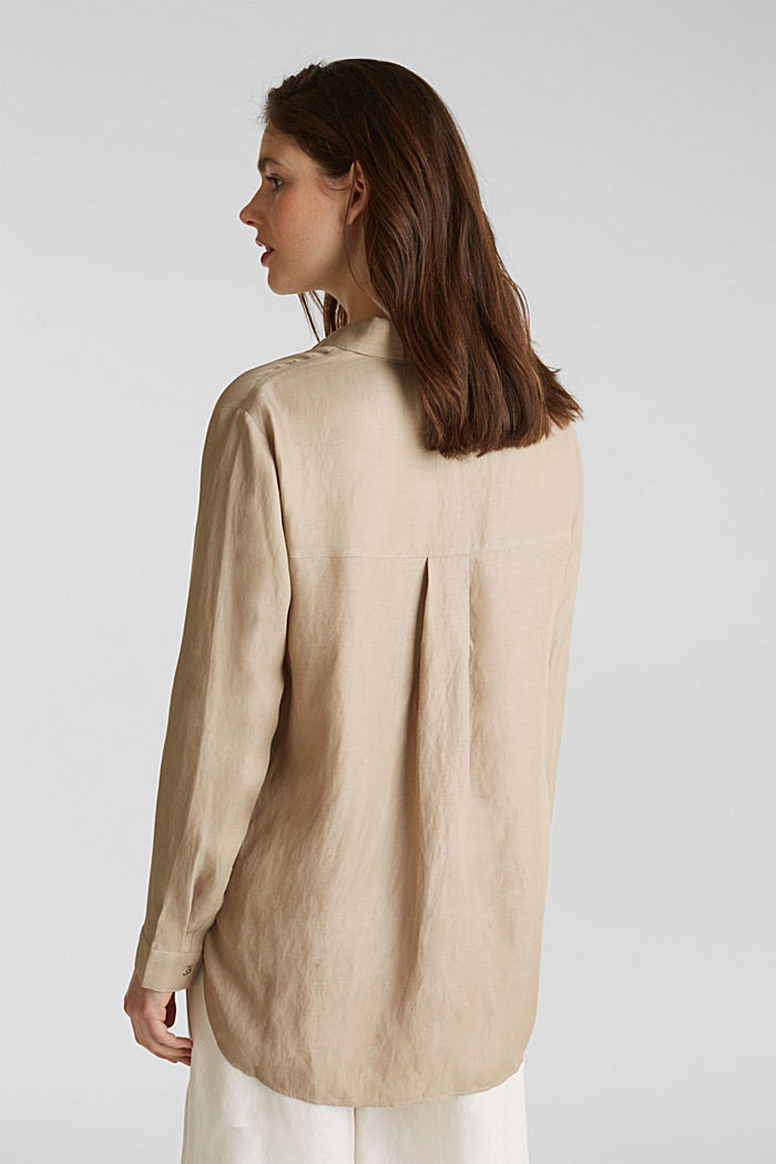 Blended linen: Slip-on blouse with button, BEIGE, detail image number 3
