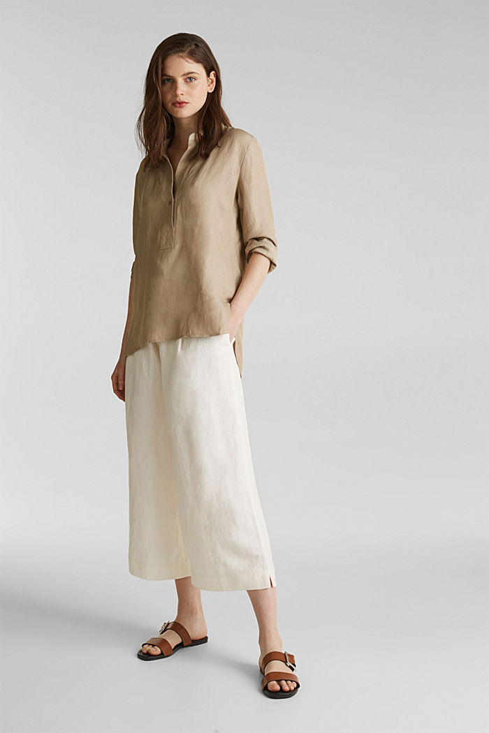 Blended linen: Slip-on blouse with button, BEIGE, detail image number 1