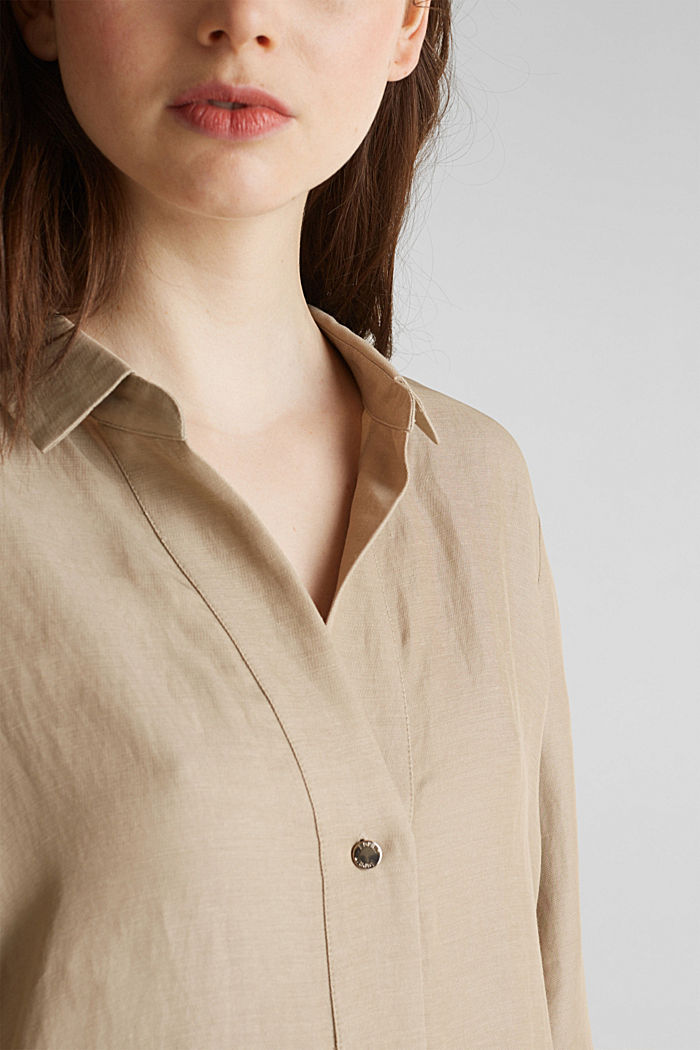 Blended linen: Slip-on blouse with button, BEIGE, detail image number 2