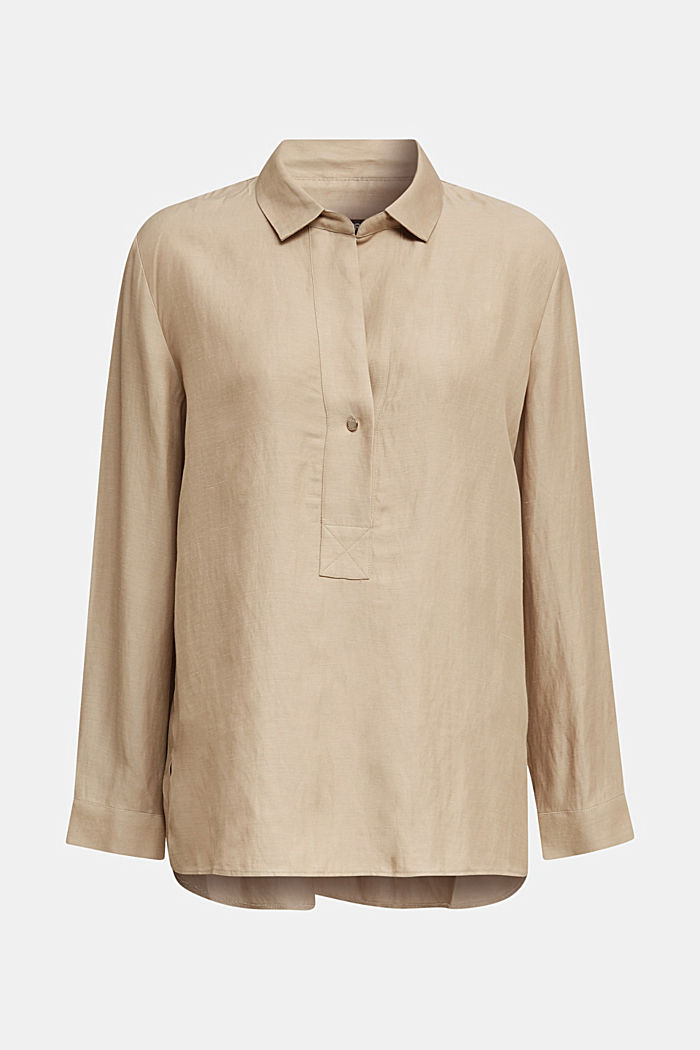 Blended linen: Slip-on blouse with button, BEIGE, detail image number 6
