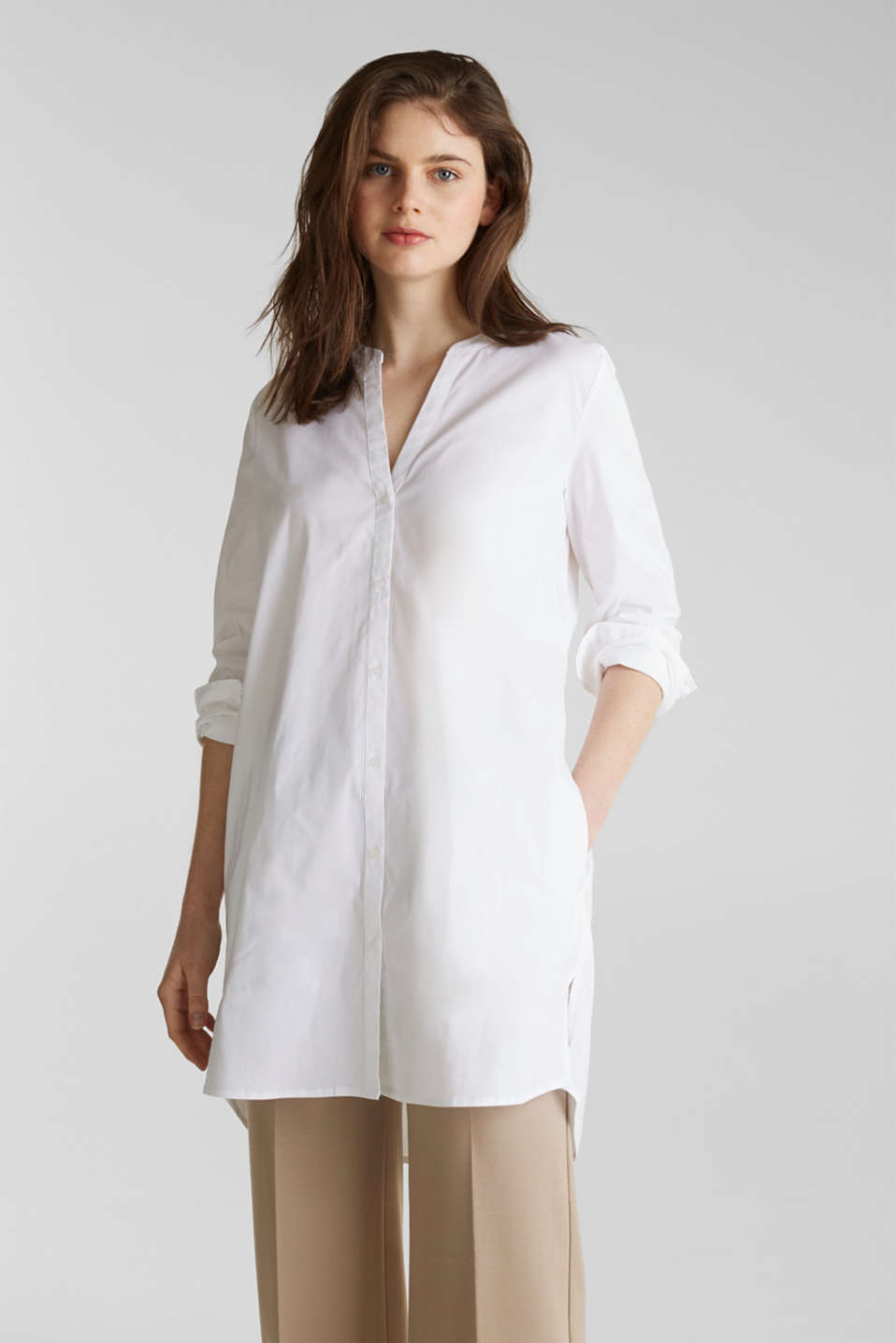 Esprit - Long blouse with a Henley neckline