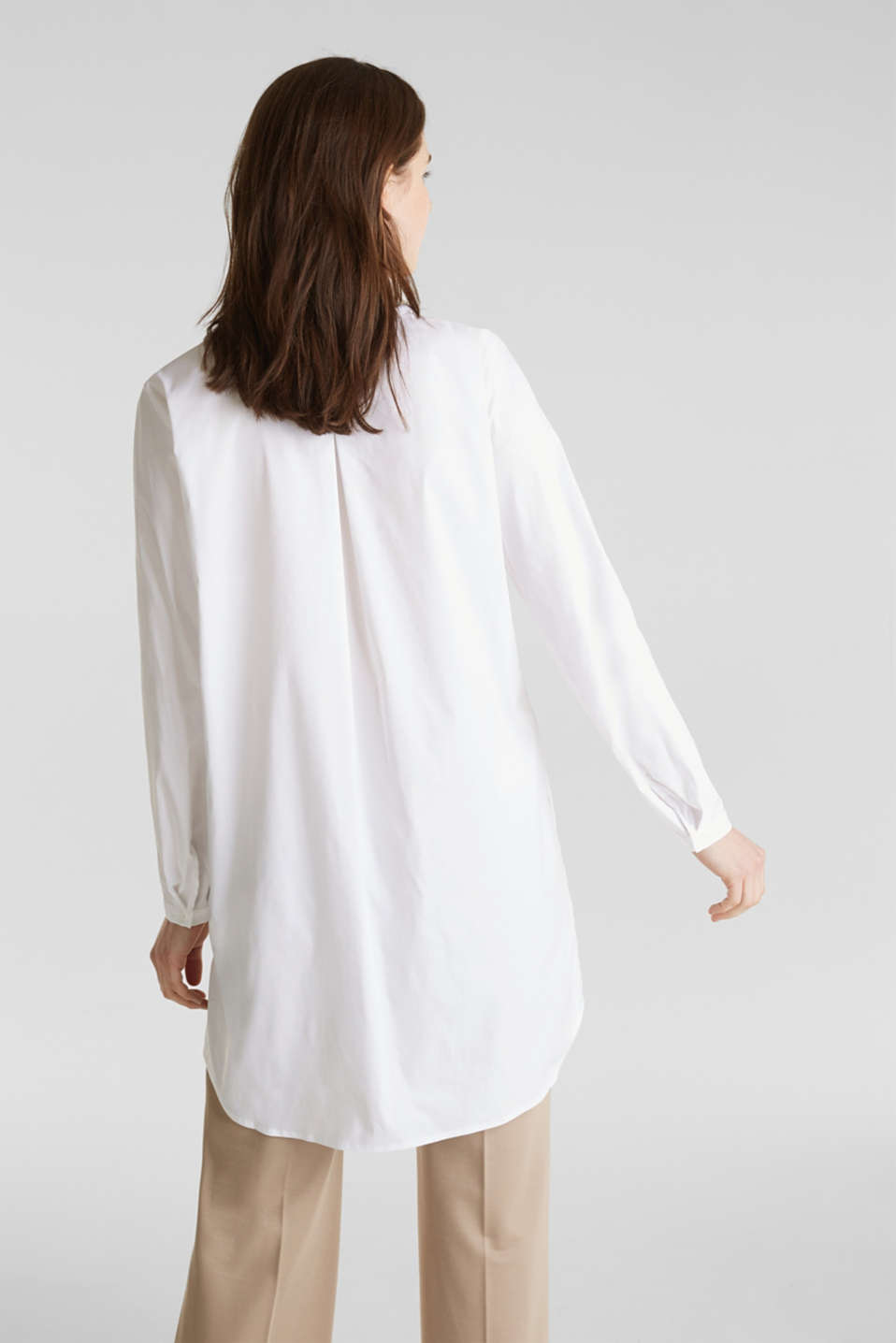 Long blouse with a Henley neckline, WHITE, detail image number 3