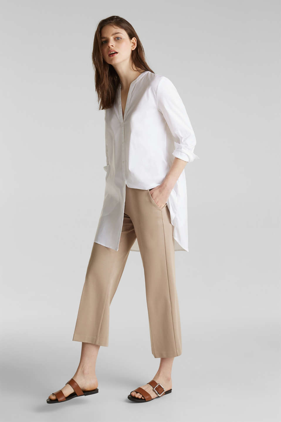 Long blouse with a Henley neckline, WHITE, detail image number 1