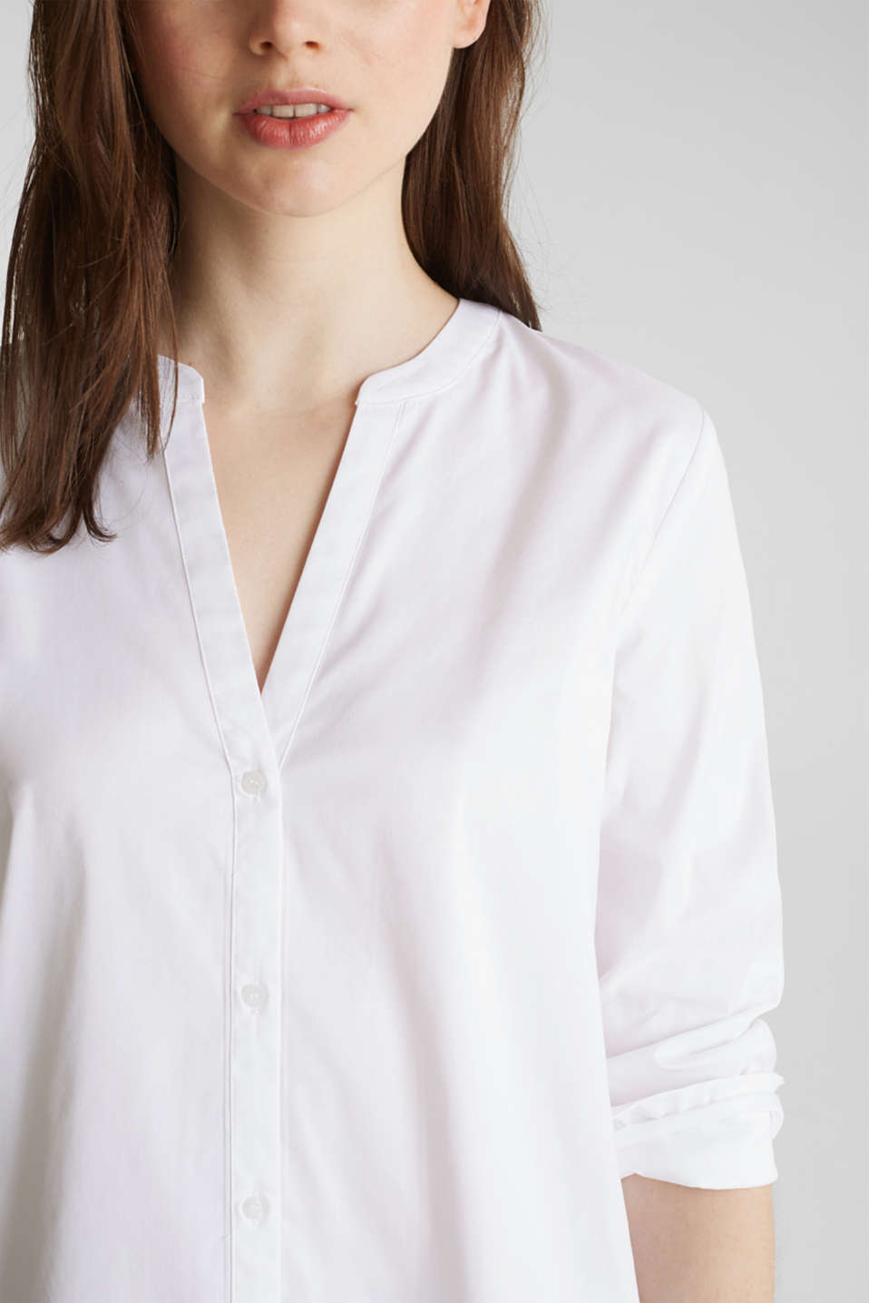 Long blouse with a Henley neckline, WHITE, detail image number 2