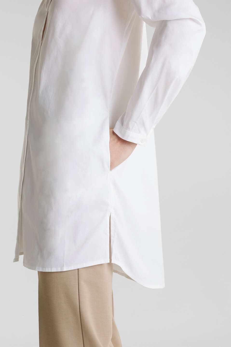Long blouse with a Henley neckline, WHITE, detail image number 5