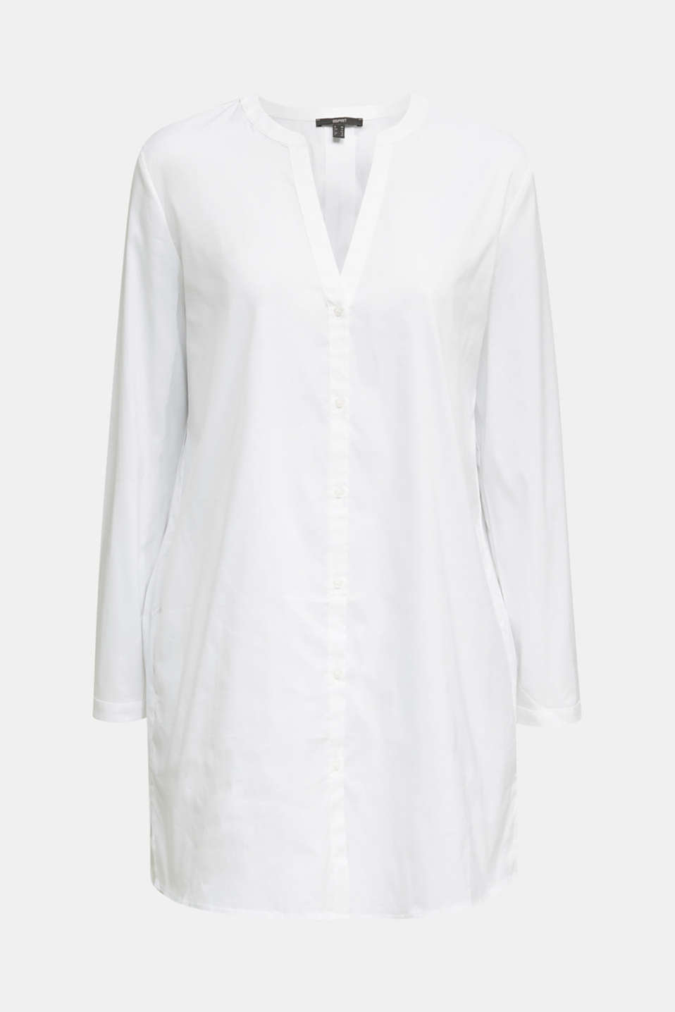 Long blouse with a Henley neckline, WHITE, detail image number 6