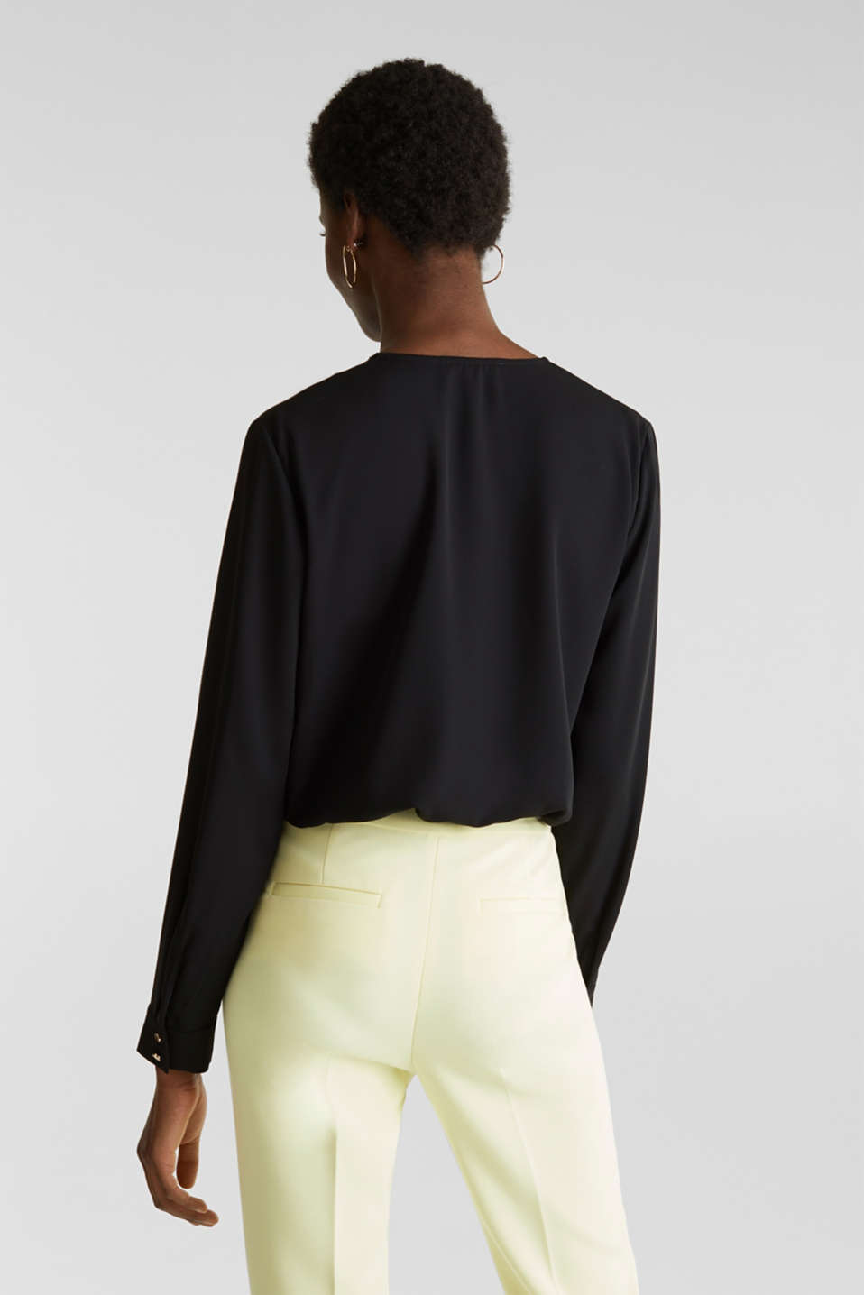 Crêpe body with a wrap-over effect, BLACK, detail image number 2