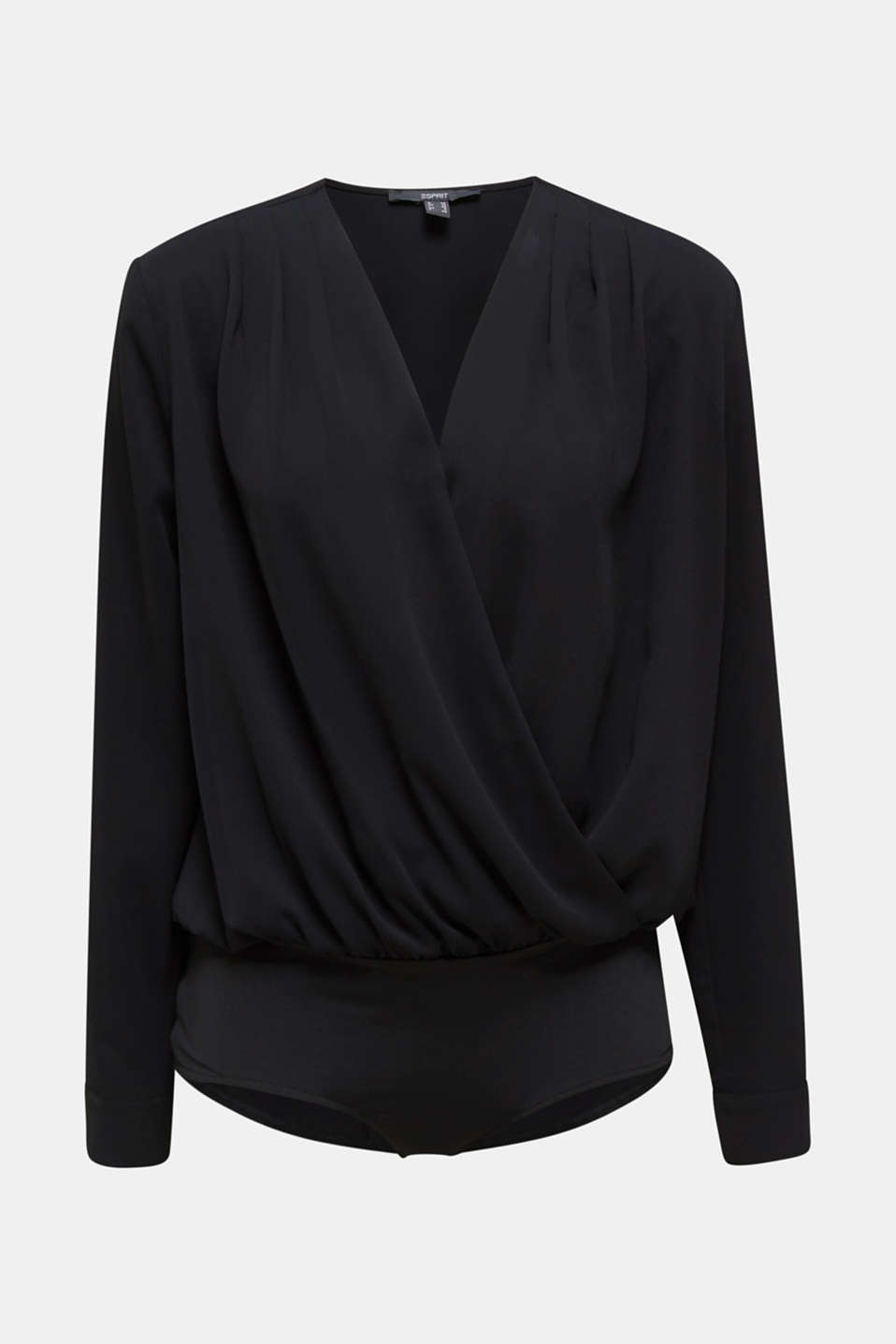 Crêpe body with a wrap-over effect, BLACK, detail image number 6