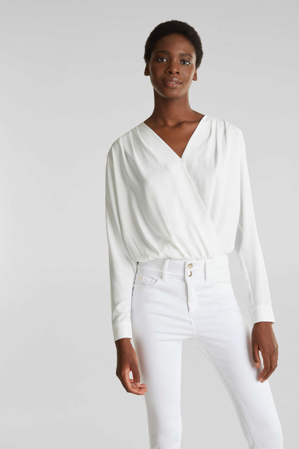 Crêpe body with a wrap-over effect, OFF WHITE, detail image number 0