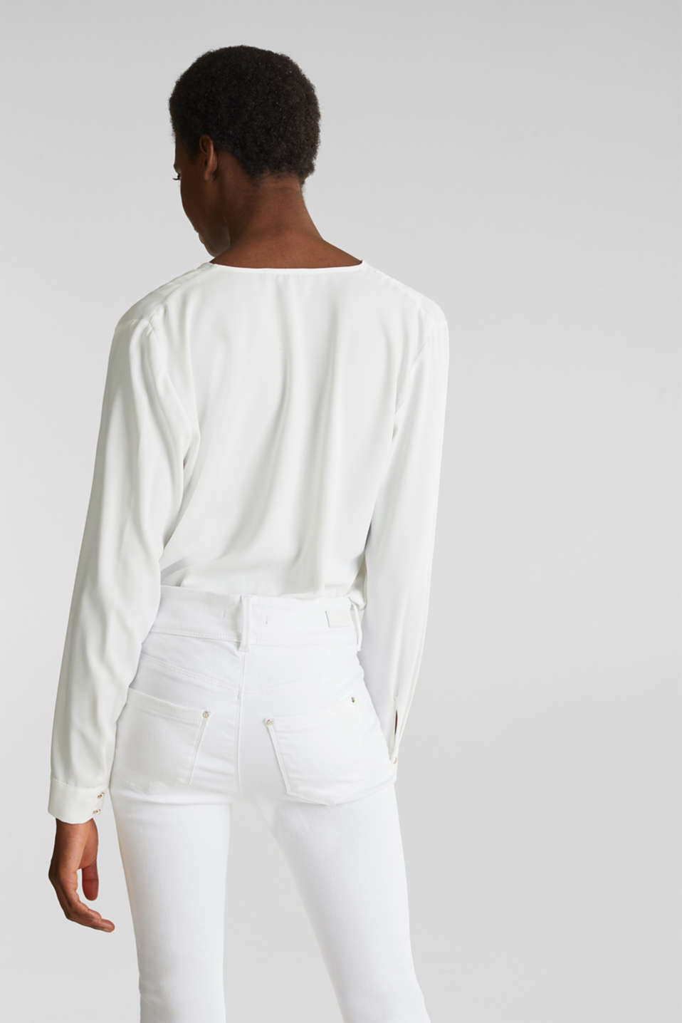 Crêpe body with a wrap-over effect, OFF WHITE, detail image number 3