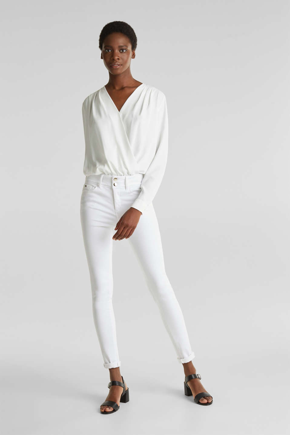 Crêpe body with a wrap-over effect, OFF WHITE, detail image number 1
