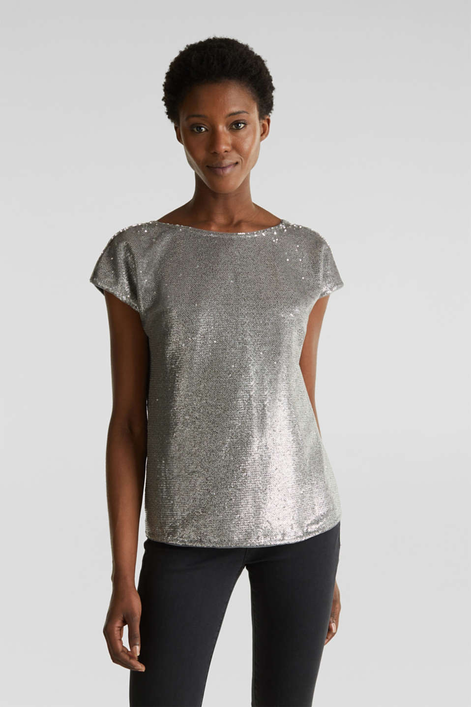 Sequin top with V-neck at the back, GREY, detail image number 0