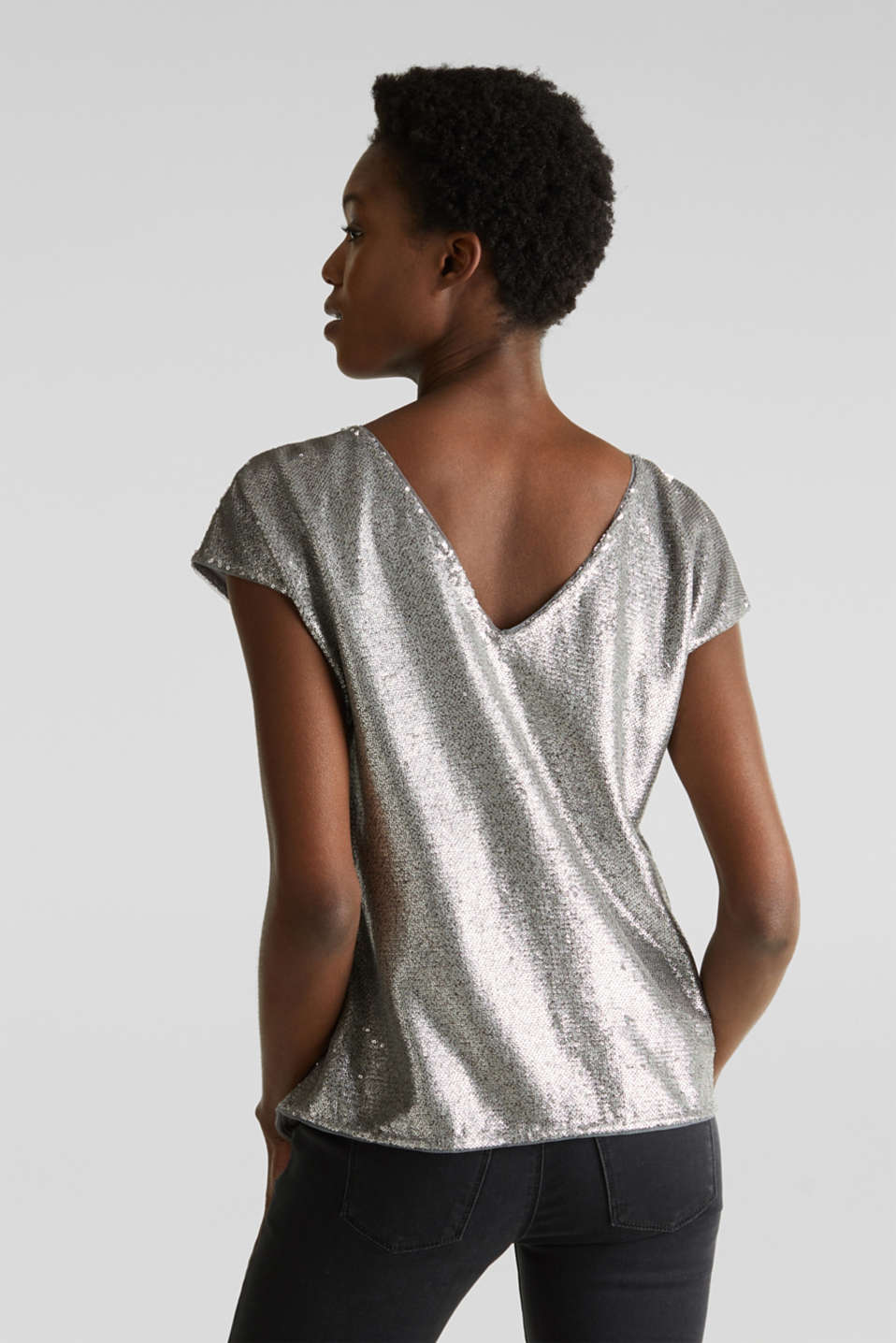 Sequin top with V-neck at the back, GREY, detail image number 3