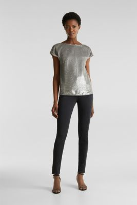 Sequin top with V-neck at the back, GREY, detail