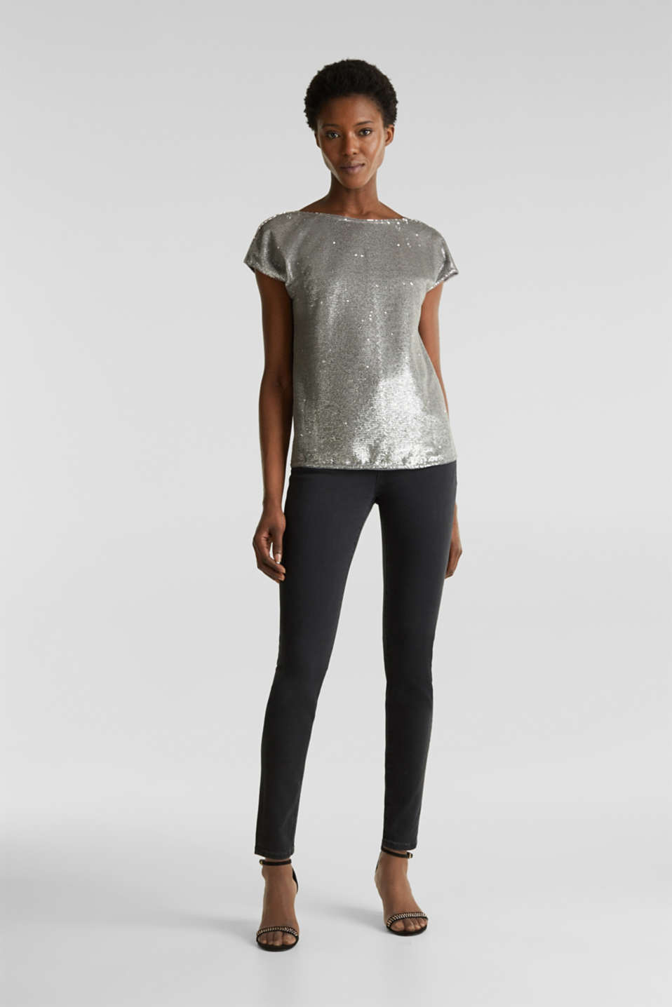Sequin top with V-neck at the back, GREY, detail image number 1