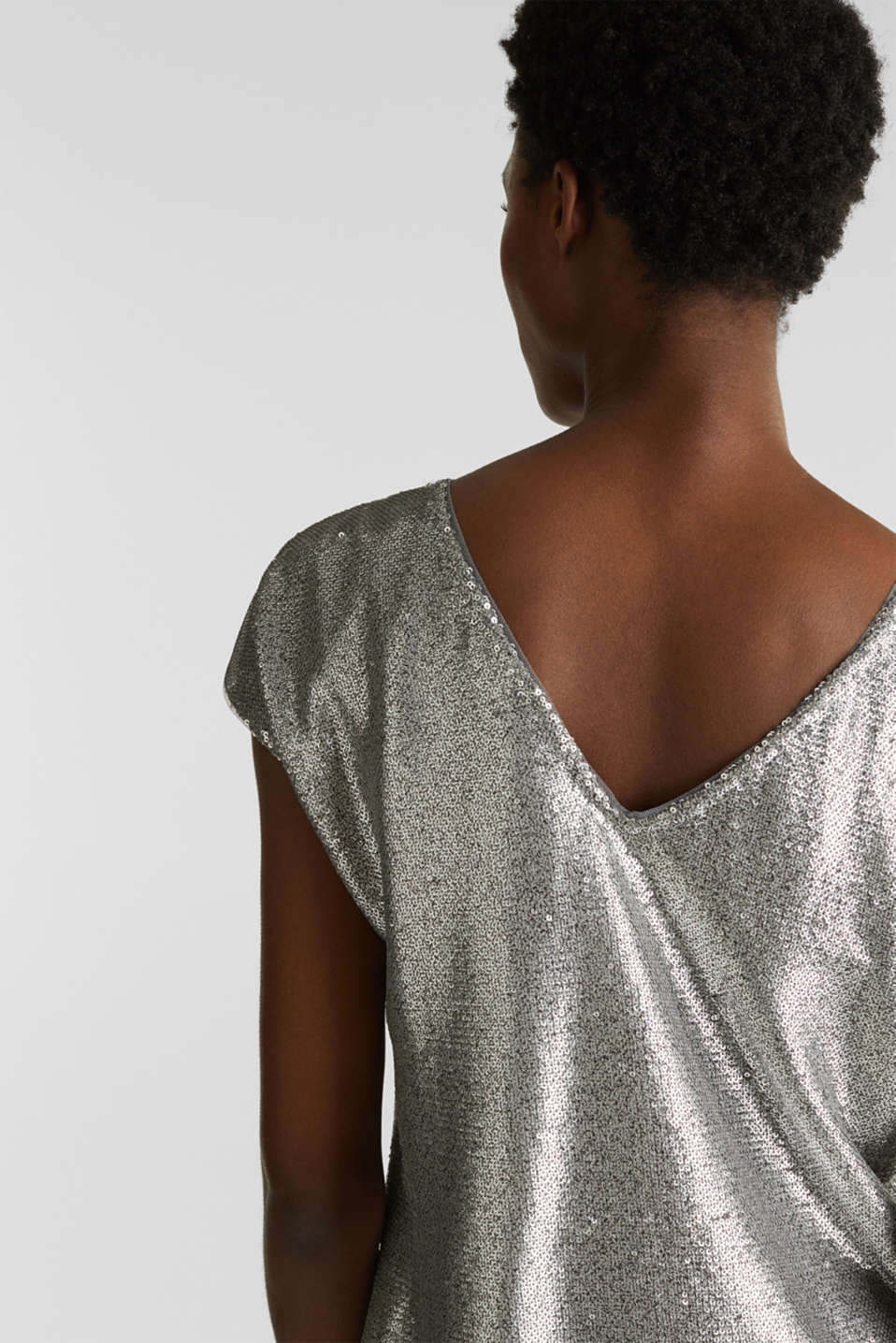 Sequin top with V-neck at the back, GREY, detail image number 2