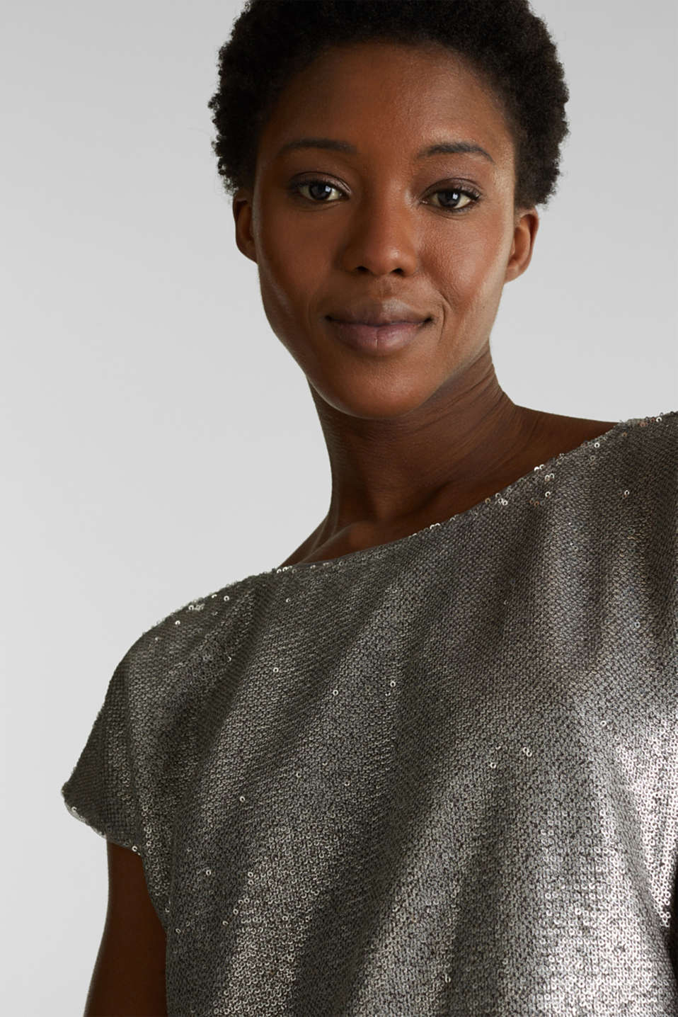 Sequin top with V-neck at the back, GREY, detail image number 5