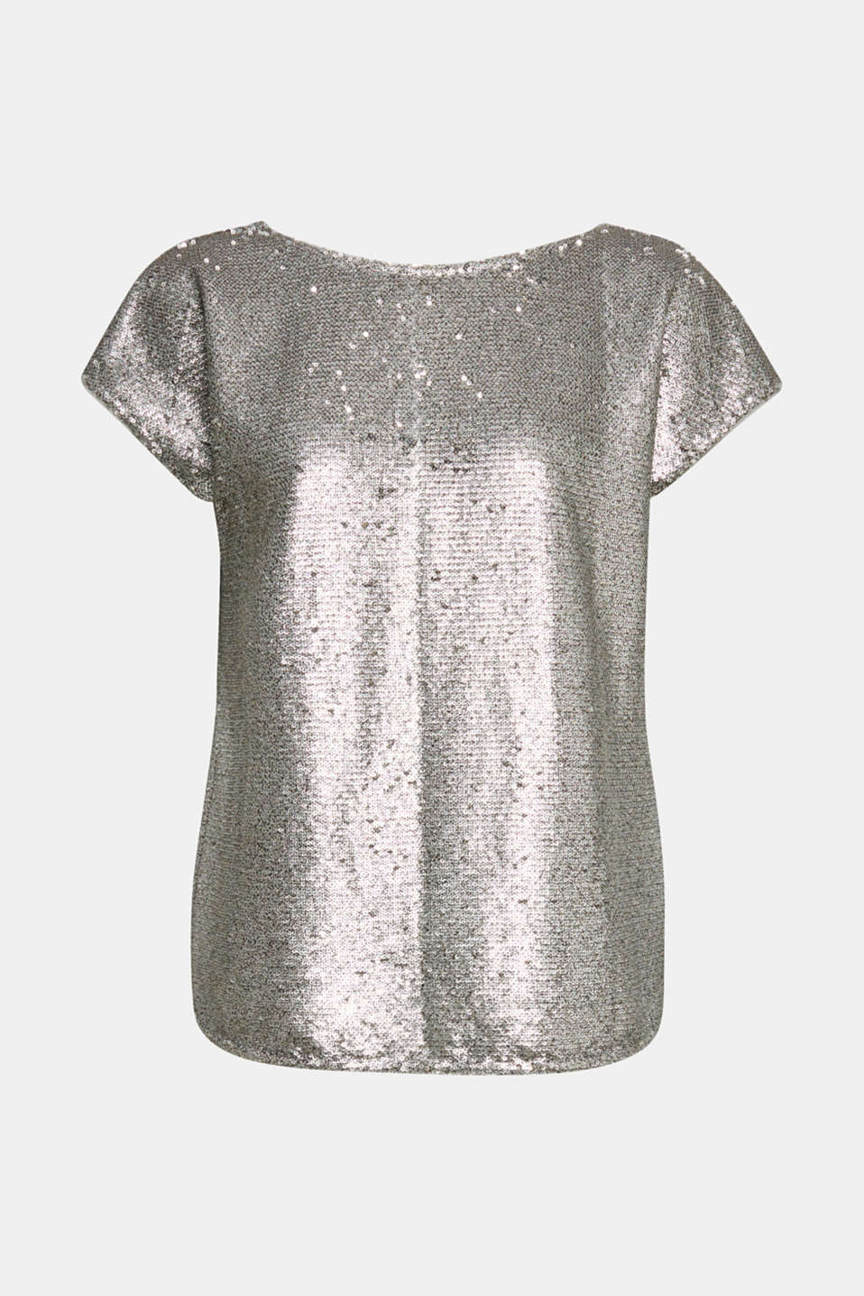 Sequin top with V-neck at the back, GREY, detail image number 6