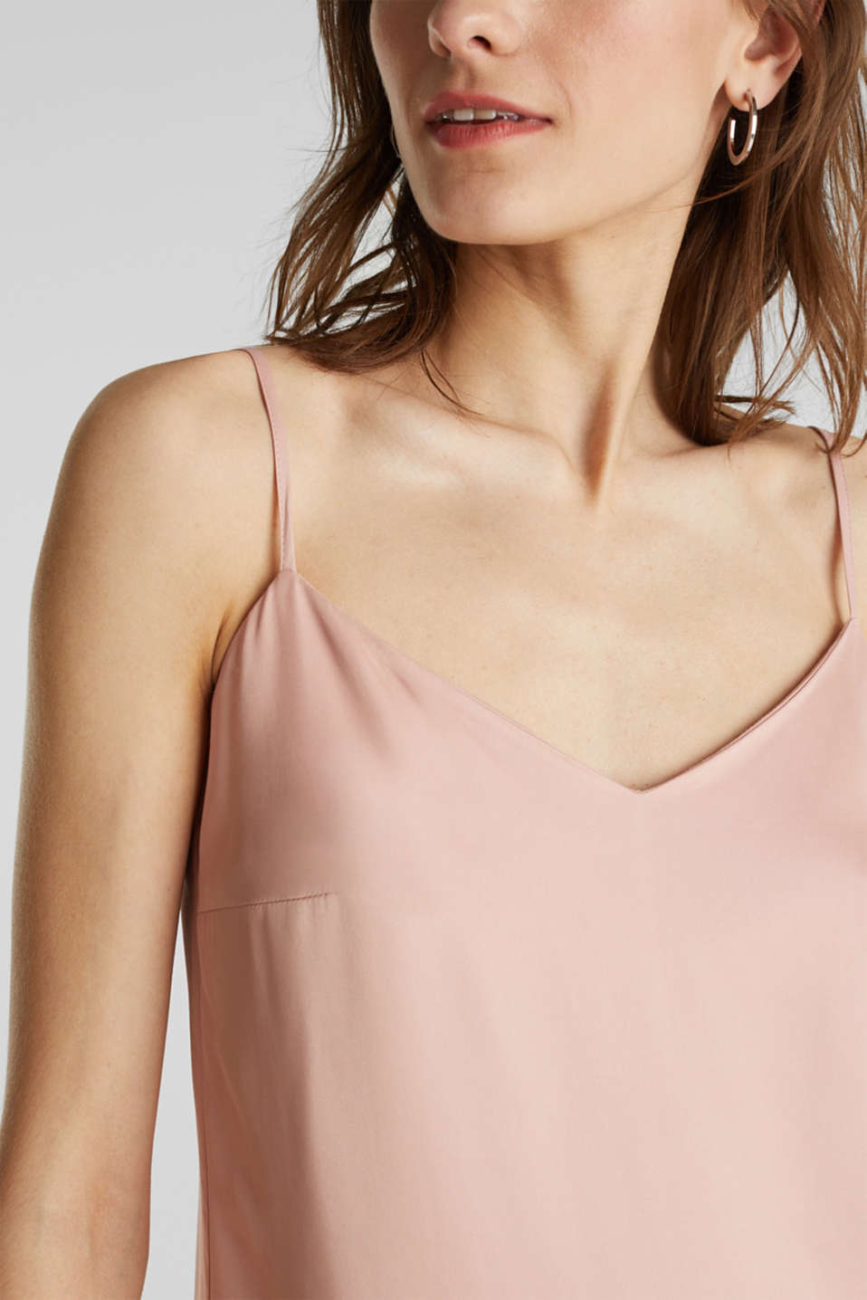 Spaghetti strap top made of satin, NUDE, detail image number 2