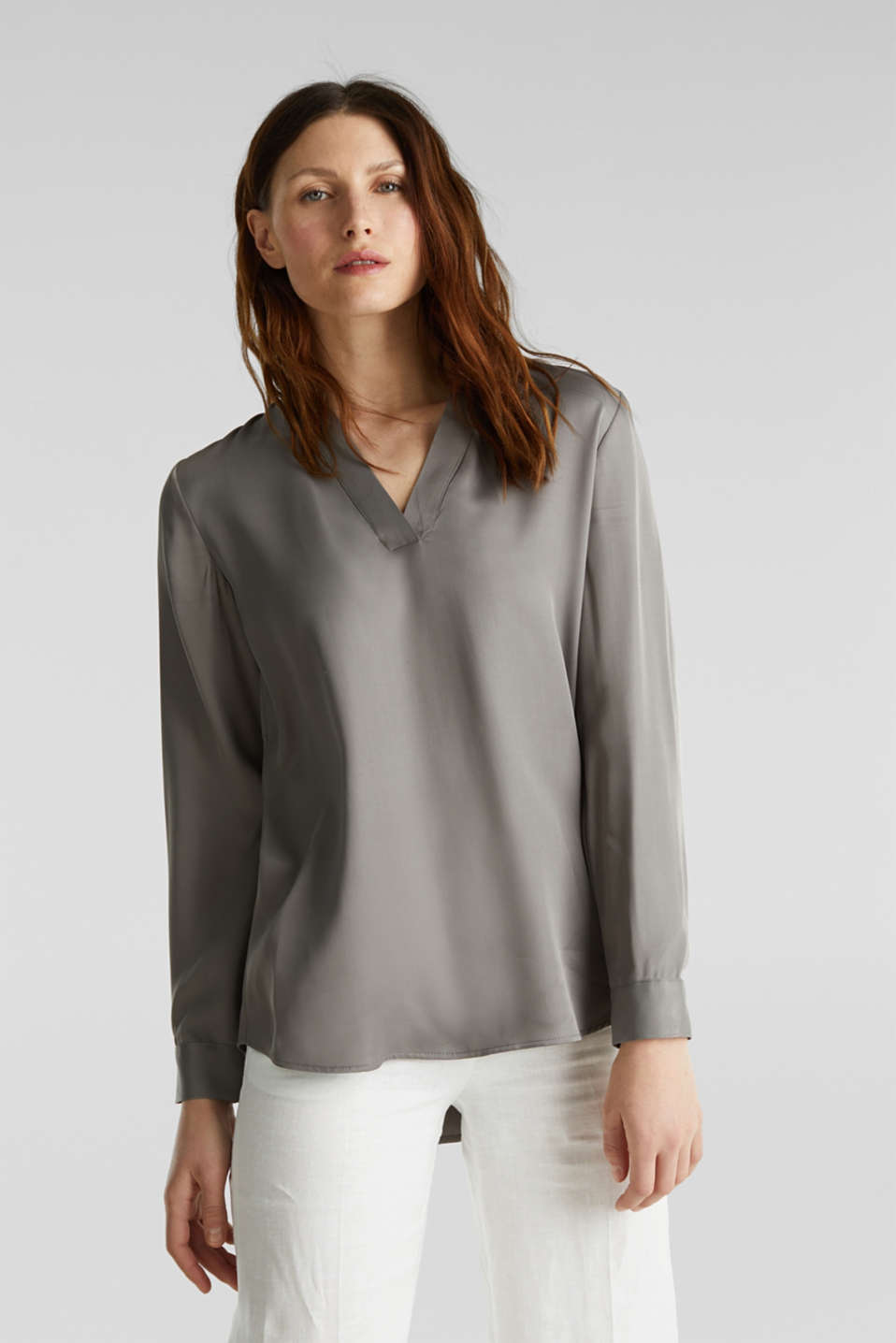 Satin Henley blouse, GUNMETAL, detail image number 0