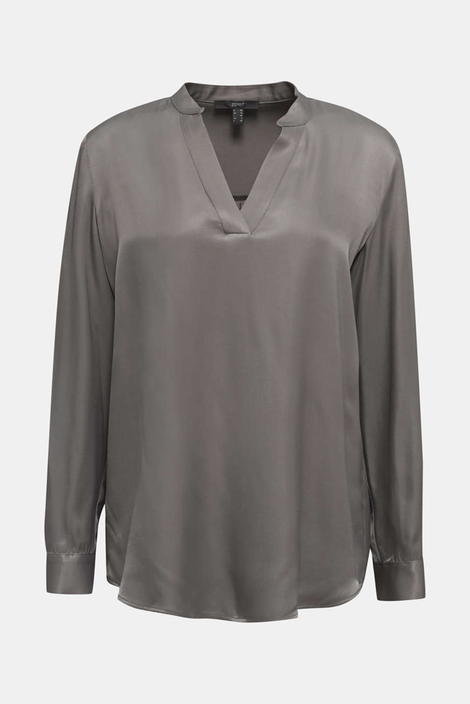 Satin Henley blouse, GUNMETAL, detail image number 7