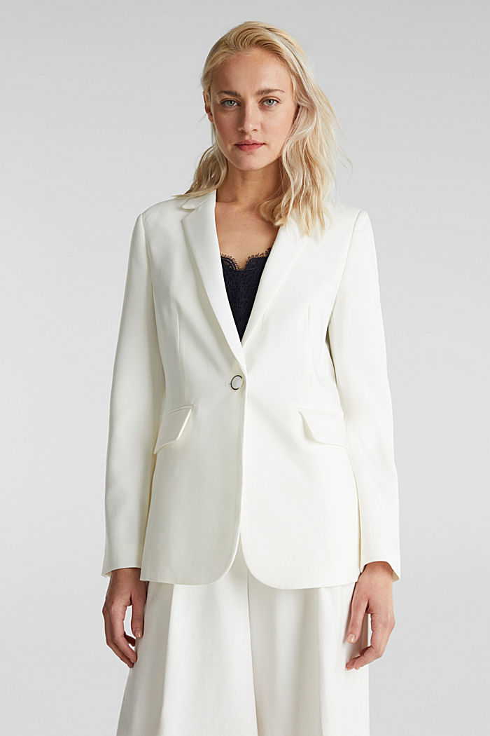 One-button blazer with stretch, WHITE, detail image number 0