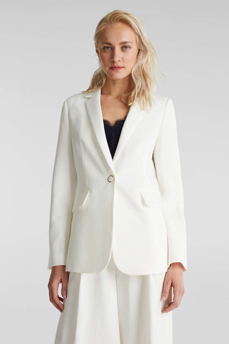 Esprit - One-button blazer with stretch